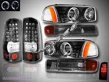 1999-2003 GMC SIERRA TWIN HALO HEADLIGHTS BLACK + BUMPER + LED TAIL LIGHT BLACK