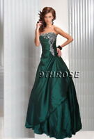 JUST DIVINE! STRAPLESS BEADED FORMAL/EVENING/PROM/BALL GOWN; GREEN AU 18/US 16