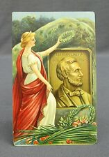 Antique Postcard Patriotic Lady Liberty Laying Wreath Abraham Lincoln Memorial