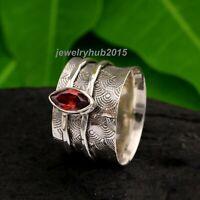 Garnet Solid 925 Sterling Silver Spinner Ring Meditation Ring statement Ring 130