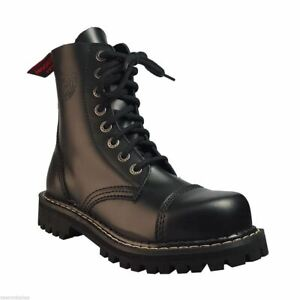 Angry Itch Black Leather Combat Boots 8 Hole Punk Army Ranger Steel Toe