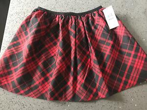 RALPH LAUREN Black & Red Taffeta Satin Lined Skirt M (8-10) NWT $49.50