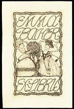 Bookplate Exlibris Wiener Werkstatte artist Leopold DREXLER for Emma Bacher 1909