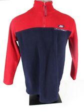 Lauren Ralph Lauren Mens S 1/2 Zip Pullover Fleece Logo Spellout Red Blue L/S