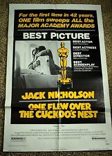 1975 ONE FLEW OVER THE CUCKOO'S NEST Original 1-Sheet Movie Poster 27 X 41