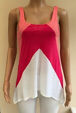 *NEW*RRP £14.99 New Look Pink White Summer Vest Top Size 10  #JT6