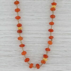 New Nina Nguyen Carnelian Bead Necklace Sterling Gold Vermeil Adjustable