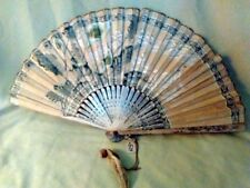 ANTIQUE FOLDING HAND FAN WOOD & Paper HAND PAINTED 1900s