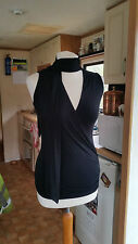 Looks New Ladies Sleeveless V Neck Neck Tie Party Top Sz8 S by PILOT