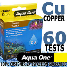 Aqua One Aquarium Fish Tank Freshwater Saltwater Copper Cu Test Kit 60