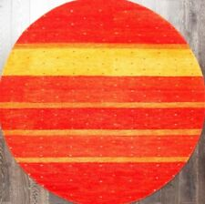 Rugsville Gabbeh Modern Stripes Orange Gold Handmade Wool Round Rug  6' x 6'