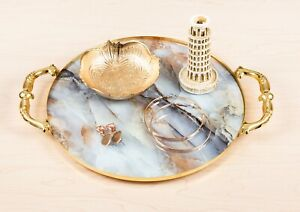 Decorative Gold Bedroom Vanity Tray | Makeup Jewelry Organizer w/ Marble Design