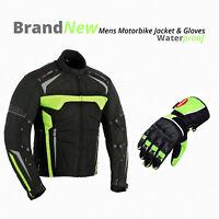Mens Motorbike Racing Jacket Coat Waterproof Armoured Motorcycle Leather Gloves
