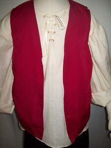 New Handmade Renaissance/Pirate Boy's Vest Size 11/12 Various Colors