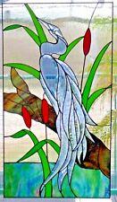 Bleiverglasung Fensterbild Facetten- Reiher mit Echt- Antikglas  in Tiffany