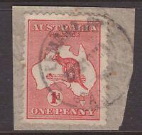 Tasmania Lemana Junction 1914 postmark on 1d kangaroo piece