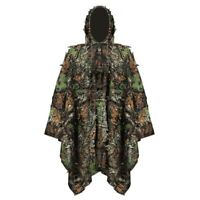 3D Leafy Leaves Jungle Woodland Hunting Camo Ghillie Poncho Cloak Camouflage New