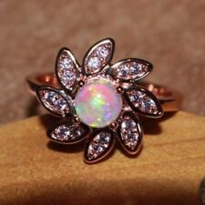 fire opal ring gemstone silver jewelry 8 8.5 8.7 cocktail Flower engagement band