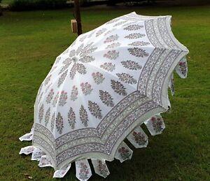 Indian Floral Patio Parasols Garden Border Umbrella Cotton Hand Block Umbrellas