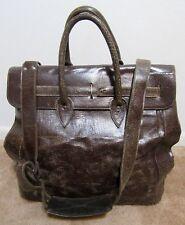 Marc Marmel Herman Cracked Leather Holdall Shoulder Luggage Bag Chocolate Brown