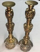 2 Vintage Large Ornate Laced Brass Candle Holders Home Decor Wedding #5