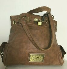Jane Norman tan handbag carry/shoulder padlock/chain hoops -Logo