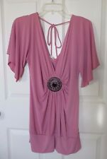 Studio Y Pink Black Gunmetal Medallion Dolman Sleeve Tunic Top Medium EUC