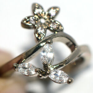 Lovely Flower Ring Crystal CZ Rings Silver Ring Jewelry for Womens Female Size 9