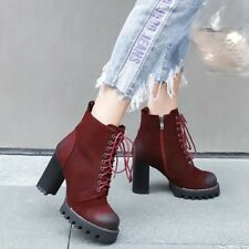 Women's Suede Ankle Boots Platform High Heels Round Toe Lace Up Shoes Side Zip