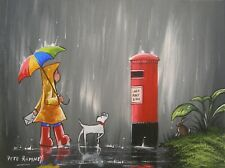 Pete Rumney Art Painting An Important Message Letter In The Rain Red Pillar Box