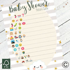 Baby Shower Games Emoji Style Game Grey Stripe Cloud New Mum To Be Baby Boy Girl