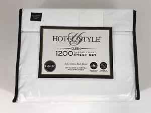 Hotel Style Queen 1200 Thread Count Cotton Rich 6 Piece Sheet Set Arctic White