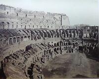 PHOTO ROME INTERIEUR DU COLYSEE 19EME ALBUMINE CARTON CONTRECOLLE A677