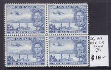 PAPUA: 1939 AIR MAIL  3d BLUE  KGVI   MUH BLOCK OF 4  SG 164