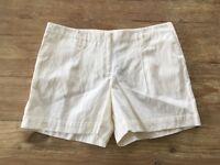 Ann Taylor LOFT  Ivory Cotton Shorts  Women's Size 14  Flat Front Cuffed Casual