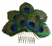 Peacock Feather Hair Comb Accessories Fascinator Handmade in UK 'Coquette'