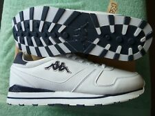 Mens size 11 White/Navy/Silver Kappa LAREM leather trainers Brand NEW / Boxed