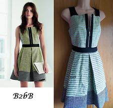 New Karen Millen neon lime green black zip tweed cotton dress UK 14 42 £199