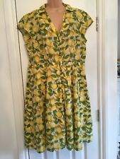 TU Yellow Green Lemon Print Cotton Buttoned Dress Tea Dress Size 16