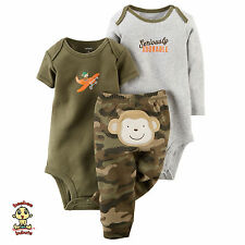 Carter's 3-piece Turn Me Around Set Camo Monkey 9 months Authentic & Brand New
