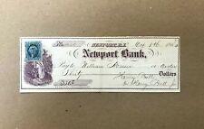 1864 Newport Bank Obsolete Check Original Blue 2 cent Stamp