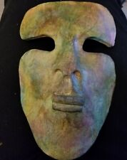 Clay Art Ceramic Face Wall Mask, Art Deco Face with Heart Wall Hanging
