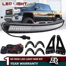 """For GMC Sierra 1500 2500 3500 50"""" Curved LED Light Bar w/Brackets, Wiring Kit"""
