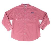 Columbia Mens Shirt Red Large L Super Tamiami Checkered Grid Button Down $64 079