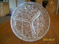 Indiana Glass Vintage Crystal Divided Dish Button & Daisy Pattern