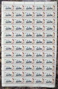 TRISTAN DA CUNHA 1965 - 4½d Ship SG76 Complete Sheet of 60 Cat £60 DK802