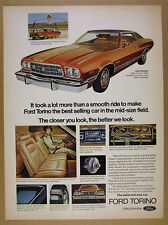 1973 Ford Gran Torino bronze car photo vintage print Ad