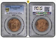 O1881 EXCEPTIONNELLE 10 Centimes Napoléon III 1853 W Lille PCGS MS64 FDC