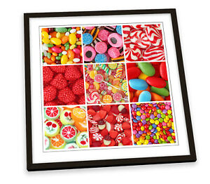 Sweets Candy Collage Kitchen FRAMED ART PRINT Picture Square Artwork
