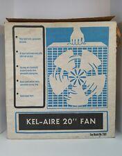 "Vintage KelAire 20"" 5 Blade Metal & Plastic Tan Electric 3 Speed Box Fan w/ Box"